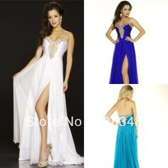 Elegant Sweetheart A-line High Slit White And Gold Chiffon Floor Length Fashion Prom Dresses Evening Gowns 2013 Arrival New US $138.00