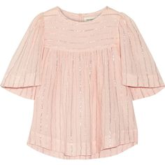 Étoile Isabel Marant Sara metallic cotton-blend gauze top ($225) ❤ liked on Polyvore featuring tops, pastel pink, gauze tops, woven top, striped top, pink striped top and oversized tops