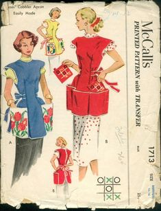 Sewing Vintage Apron Pattern McCalls 1713 Womens Full Embroidered Cobbler Apron with Patch Pockets, Potholder, Vintage Sewing Pattern Sewing Aprons, Mccalls Sewing Patterns, Vintage Sewing Patterns, Dress Patterns, Apron Patterns, Pattern Sewing, Knitting Patterns, Free Knitting, Vintage Apron Pattern