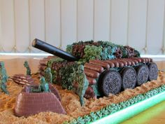 Amazing cake for a TANK or CAMO party!