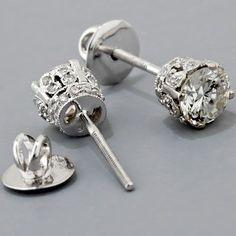 Antique Edwardian Style Diamond Stud Earrings