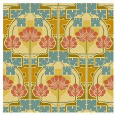Art Deco style adaptation of an antique Beauclair textile design cross stitch pattern pdf. $4.99, via Etsy.