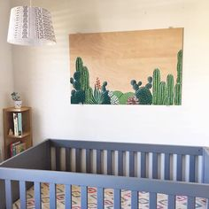 Lucky To Be In Love - Nursery Art- Baby boys room - Baby girls room - Cactus art - Above Crib art on Wood