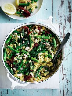 Spring-Vegetable Paella, food & wine