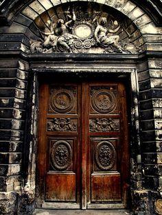 wood door.