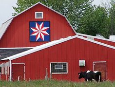 "Wonderful!    ""North Star quilt block""   Located on the Olson Farm on the County Highway in Sturgeon Bay  Image courtesy Door County Barn Quilts"