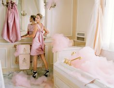 Kate Moss.... GTFO, I gotta be in that tub, in all those pink bubbles!
