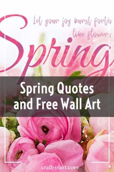 Need to refresh your HOME for Spring on a budget? Check out our original 17 FREE SPRING PRINTABLES and create a gorgeous gallery wall (or a single canvas print) for your home or office. You'll also enjoy reading through an extensive collection of wonderful, inspiring, poetic, and sometimes funny spring quotes and sayings from some of the greatest minds. #springquotes #freespringprintables Big Wall Art, Yarn Wall Art, Wall Art Crafts, Mural Wall Art, Murals, Big Canvas Prints, Contemporary Metal Wall Art, Spring Quotes, Rustic Wall Art