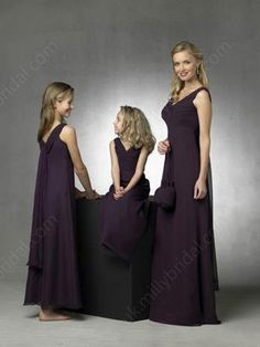 Empire V-neck Chiffon Floor-length Draped Bridesmaid Dresses -£56.89