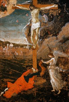 Sandro Botticelli, Mystic Crucifixion, about Tempera and oil on canvas, transferred from panel. Harvard Art Museums/Fogg Museum, Friends of the Fogg Art Museum Fund. Giorgio Vasari, Harvard Art Museum, Museum Of Fine Arts, Sandro Botticelli Paintings, Italian Painters, Painting Gallery, Jesus Cristo, Religious Art, Religious Paintings