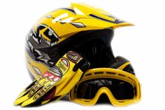 Youth Offroad Gear Combo Helmet Gloves Goggles DOT Motocross ATV Dirt Bike MX Motorcycle Yellow, X-Large Ultimate Review And Lowest Price | My Hot Dirt Bike