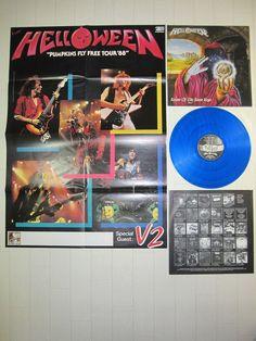 HELLOWEEN - KEEPER OF THE SEVEN KEYS PART 1 GERMANY LP  BLUE VINYL W/POSTER  #PowerProgressiveMetal