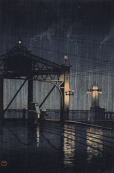Kawase Hasui - Shin Obashi, 1926, I think this is my favourite woodblock by   Kawase Hasui - Love the composition plus the light & rain. S