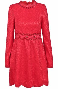 Red Long Sleeve Rhinestone Lace Loose Dress US$39.66