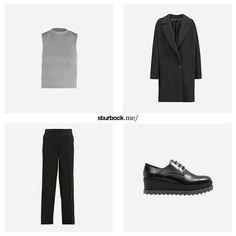 Weit geschnittener Mantel und Stoffhose, knappes Ripp-Crop Top und hohe Schnürschuhe aus Leder mit offener Derby-Schnürung. Hier entdecken und shoppen: http://sturbock.me/7Z0