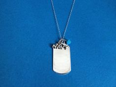 Dog Tag with Navy Charm and Crystal Necklace by treasuredheros1