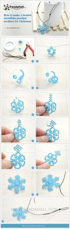 Would be cute ornaments for the tree! How to Make a Beaded Snowflake Pendant Necklace for Christmas