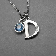 initial birthstone necklace initial by chrysdesignsjewelry on Etsy