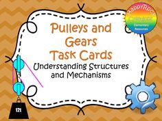 Looking for a great way to review or assess the grade 4 Ontario science unit Understanding Structures and Mechanisms: Pulleys and Gears? Check out these task cards! These 20 task cards cover a range of curriculum expectations and content information (definitions of key terms [pulley, gear, speed, force], how pulley and gear systems work, fixed vs.
