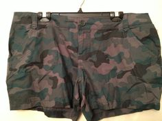 "Opp Shorts    New with tags OPP 5"" Bermuda shorts  It is a camouflage of greens  It has a zip and button for closure  Two front and two back pockets.  It has hoops for wearing your favorite belt    Color: Multi  Size: 17   $12.99"