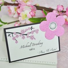 Cherry Blossom Plantable Seed Place Cards (Set of 12) from Wedding Favors Unlimited