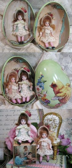 "Two Tiny Vintage 2 1/2"" All Bisque Baby sister dollhouse dolls in Tin egg by NooshfairlovesDreamCorner"