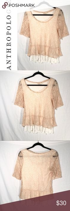 e007216c1b1 I just added this listing on Poshmark: Anthro Deletta Layered Lace Peplum  Shirt Size Med.