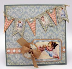 This oh! so CUTE baby card was made by Barb for The Stamp Simply Ribbon Store using product by Graphic 45 and seam binding, all available at The Stamp Simply Ribbon Store.
