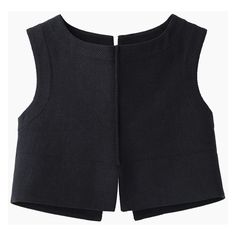 Jil Sander Rioja Vest (3.445 ARS) ❤ liked on Polyvore featuring tops, crop tops, shirts, crop, sleeveless shirts, black shirt, woven shirt, black shirt black vest and black crop tank