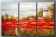 Italian Red Poppy Field, Canvas Painting, Landscape Art, Landscape Painting, Large Painting, Living Room Wall Art, Oil on Canvas, 3 Piece Oil Painting, Large Wall Art