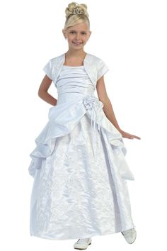 White Satin Two Piece Communion GownFull Length White Satin Long Gown with a matching white satin bolero jacket. This dress is fully lined with a rouched satin bodice and a zipper back with a lace draw string corset in the back for an easy fit. This dress is a long floor length dress.