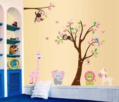 Eulen und Affen mit Baum Wandtattoo / Eulen Baum Wandsticker H:1,56m x B:2,00m:Amazon.de:Baby