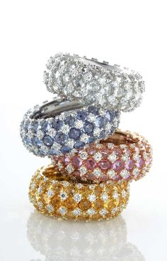 -Pastels - Digo Valenza Colored Diamond Eternity Bands.<3