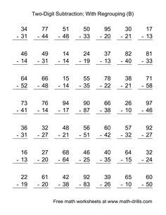 Two-Digit Subtraction with No Regrouping -- 49 Questions (A) Subtraction With Borrowing, Subtraction With Regrouping Worksheets, Multiplication Worksheets, Maths, Worksheets Preschool, Free Printable Math Worksheets, 2nd Grade Math Worksheets, First Grade Spelling, Second Grade Math