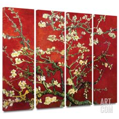 Interpretation in Red Almond Blossom 4 piece gallery-wrapped canvas Canvas Art Set by Vincent van Gogh at Art.com