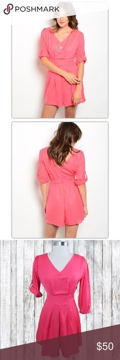 Coral Pink Convertible Sleeve Romper This beautiful fully lined romper features adjustable sleeves, v-neck, tapered waist, darting at the hips, wide leg openings, and a full zipper in the back.   Ladies with hips: Size up! Dresses Mini