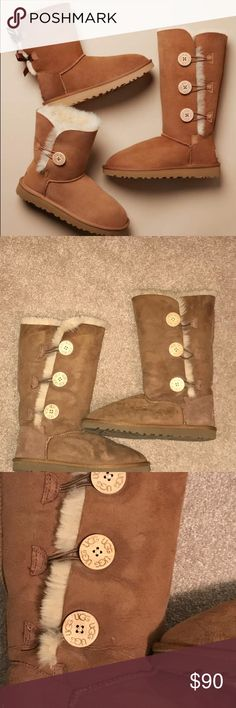 Ugg Bailey Button Triplet It is the ugg boot on the right side of the cover shot. Has three buttons on each button all in perfect condition. No stains or damage. Only worn inside a couple of times. In perfect condition besides a little slouching of the front material over time. Super warm. US size 8. UGG Shoes Winter & Rain Boots