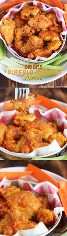 Crispy Fried Buffalo Chicken Bites that are guilt-free! Paleo, gluten-free, grain-free, nut-free, and dairy-free!