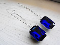 Sapphire Earrings Vintage Sapphire Blue Earrings by CRystalCRush, $19.00