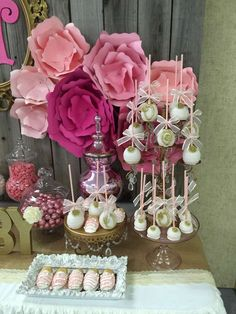Amazing pink and gold baby shower party! See more party planning ideas at CatchMyParty.com!