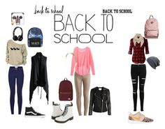Back to School by diana-sosa-1 on Polyvore featuring Victoria's Secret, LE3NO, Miss Selfridge, VILA, Dr. Martens, NIKE, Vans, Herschel Supply Co., Disney and Mulberry