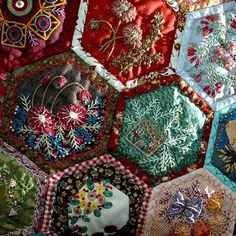 hexagon crazy quilt blocks....