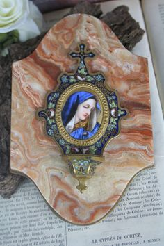 19th French Champleve Enamel Holy Water Font Madonna