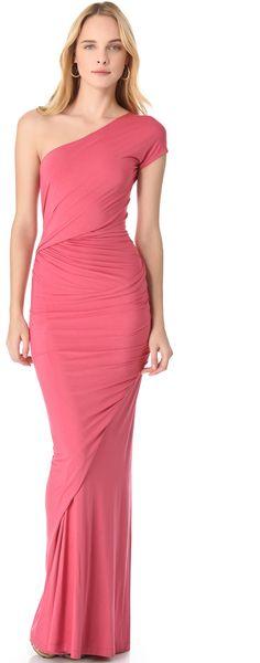 Donna Karan New York One Shoulder Drape Gown in Pink (rose) | Lyst
