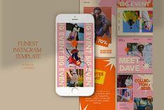 Funiest Instagram Templates by Azruca on @creativemarket #socialmedia #template #handpicked Social Media Template, Social Media Graphics, Fancy Fonts, Instagram Design, Scene Creator, Design Bundles, School Design, Logo Templates, Stencils