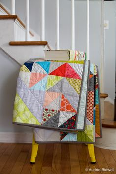 Two of my dearest friends are getting married later this month, so of course I made a quilt. This isn't a wedding quilt -- they've yet to d. Half Square Triangle Quilts, Surf Shack, Quilting Projects, Color Combinations, Diaper Bag, Contemporary, Modern, Blanket, Sewing