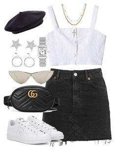 """Untitled #869"" by itskarinaaaaa ❤ liked on Polyvore featuring Topshop, Gucci, adidas, StyleNanda, Le Specs, Luv Aj, Cartier and Diamond Star"