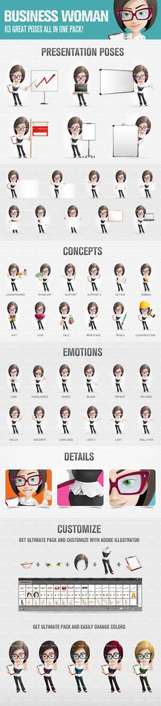 Business Woman Cartoon Character presented in 63 different postures and moods. She's smart, elegant and attractive. It really looks like she's good in doing