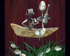 5th Wedding anniversary Fishing Couple and Spoon Fish by NevaStarr