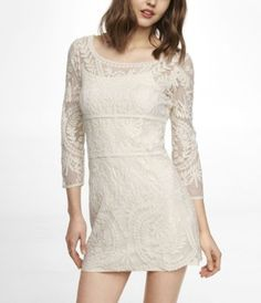 Ivory lace shift dress from Express....wore the other night with a jean jacket and boots and will wear to Christmas party with nude heels. Love it.